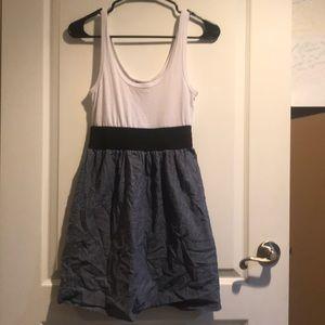 White and jean skirt mini dress
